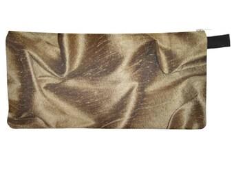 Gold Silk Printed Cosmetic Pencil Case Golden Silk Makeup Bag