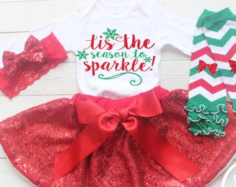 Girls Christmas Outfit, My First Christmas 2017, Baby Girl First Christmas, Tis the Season, Baby Girl Christmas Outfit, Christmas Tutu