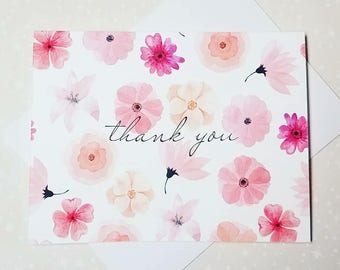 Pink Flowers, Watercolor Thank You Note Cards 8ct