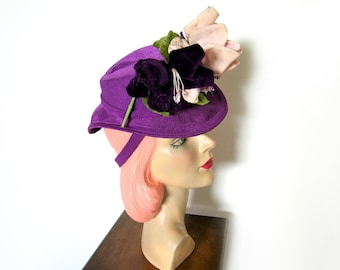 Vintage 1940's Purple Floral Percher Tilt Hat ~