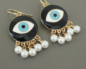 Evil Eye Earrings - Gold Earrings - Tassel Earrings - Pearl Earrings - Statement Earrings - Blue Eye Earrings - Handmade Jewelry
