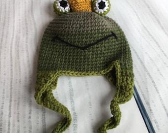 Baby Boy Frog Prince Earflap Hat Crochet Ties Greens Crown 3 to 6 months