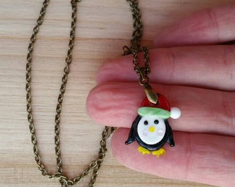 Penguin Necklace on Antique Gold Chain - Glass Christmas Penguin Charm - Lampwork Bead Charm - Holiday Party Jewelry