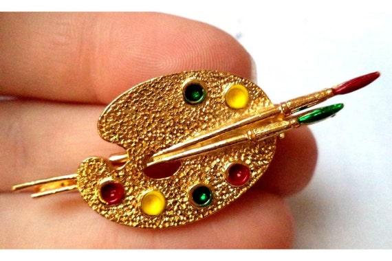 Artist Palette Vintage Enamel on Goldtone Pin Signed Gerry's
