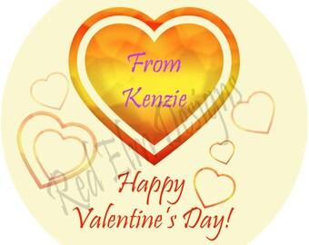 "Valentines Day Heart Stickers - Sheet of 20 - 2"" round. 2 Inch Round Heart Valentine Stickers"