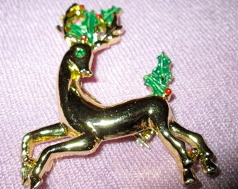 Christmas Bambi Brooch 1980's Signed Gerry's