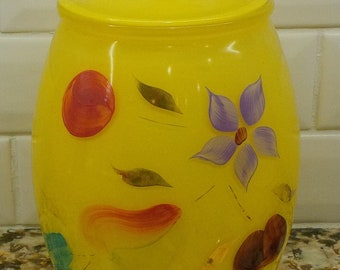 Vintage yellow Bartlett Collins glass cookie jar