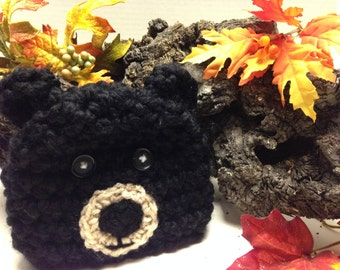 Black Bear Crochet Hat (Infant, Toddler, Youth, Adult sizes)  Free Shipping!!