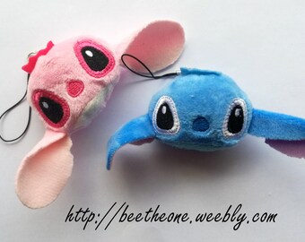 Phone strap charm plush kawaii Disney Lilo and Stitch - Stitch or Angel