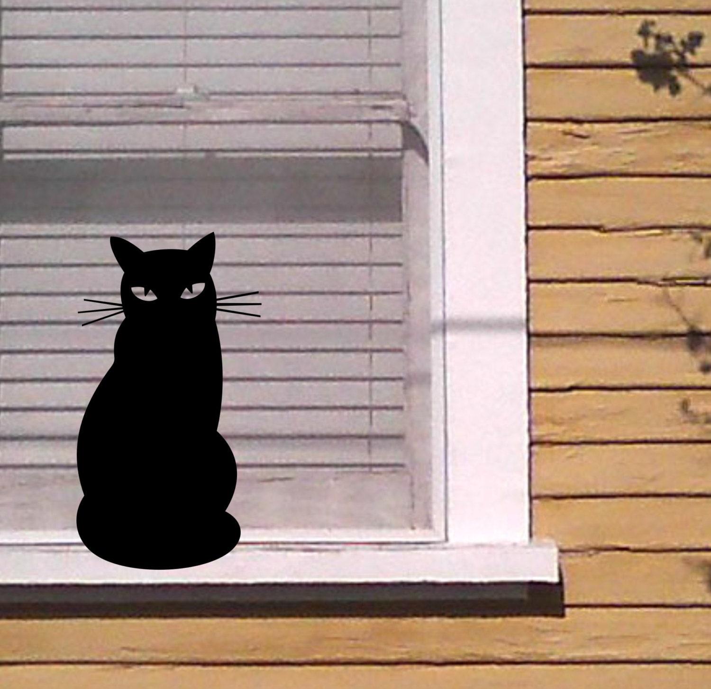 Silueta de gato negro en la ventana alféizar vinilo Sticker