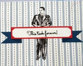 Quilt Label - Dapper Gentleman, Custom Made & Hand Embroidered LAST ONE