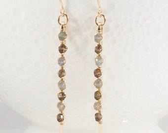 Long Gemstone Earrings, Gemstone Dangle Earrings, Labradorite Earrings, Smoky Quartz Earrings, Stick Earrings, Handmade Earrings