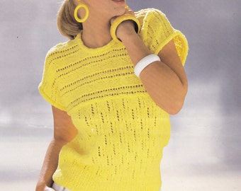 PDF womens short sleeve sweater pattern 32 - 42 inch double knitting vintage knitting pattern pdf INSTANT download pattern only