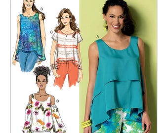 Sewing Pattern for Misses' Double-Layer, Cold-Shoulder or Notch-Neck Tops, Butterick Pattern 6355, Plus Sizes Avail,  Hi-Low Hem Tops