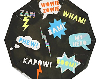 Superhero Party Plates. Zap! Wham! Bam! Super Hero Paper Plates by Meri Meri. Modern Boy Party Decor. Comic Book Party. Comic Book Birthday.