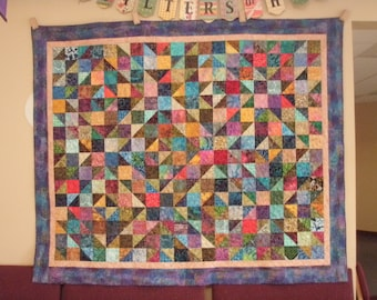 Queen Quilt Handmade Patchwork Batik Masculine Quiltsy Idaho Multicolor
