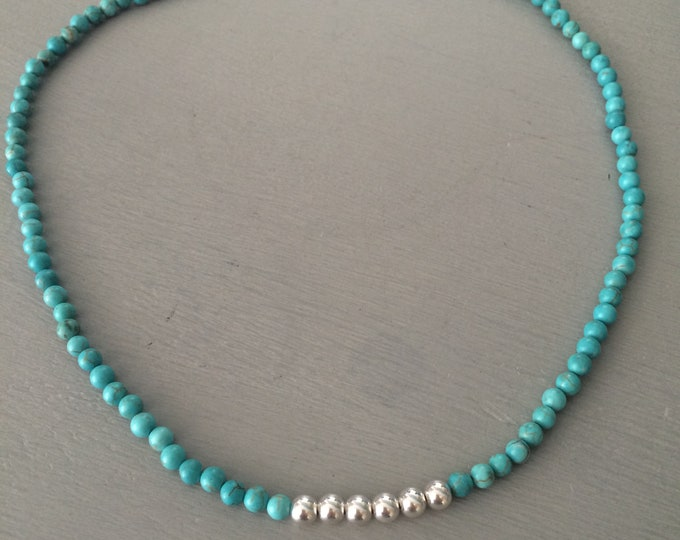 Turquoise choker necklace Sterling Silver or 18K Gold Fill blue Turquoise beaded gemstone necklace real tiny Turquoise Honeymoon jewelry
