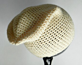 Teen Slouchy Beanie, Oatmeal Hat, Slouchy Beanie, Crocheted Winter Hat, Unisex Slouch Beanie, Oatmeal Winter Hat, Crocheted Hat, H2