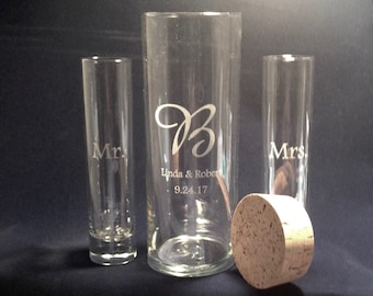 Personalized Unity Sand Ceremony  Set Cylinder with Cork Stopper