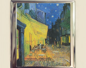 Van Gogh Cafe Terrace at Night Cigarette Case Business Card ID Holder Wallet Fine Art Famous Painting Impressionist Vincent