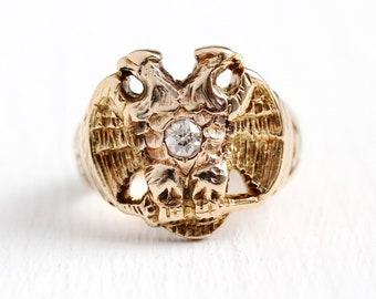 Sale - Scottish Rite Ring - Vintage 14k Rosy Yellow Gold Double Headed Eagle 32nd Degree Old Mine Cut Diamond - Size 6 Masonic Fine Jewelry