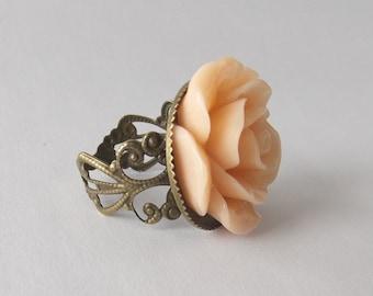 Peach Rose Ring, Flower on Brass Tone Filigree, Resin Flower Ring, floral gift box, 23mm flower custom color white black red pink green blue