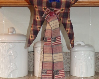 Primitive Patriotic Flags/Star on Vintage Textile Spool/Country/Cabin/Rustic