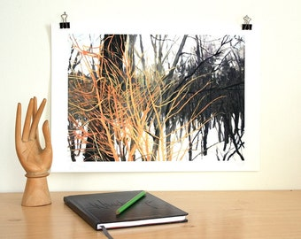 Impressionist Winter Landscape. Overgrown Fields with Yellow Willows Giclee Print from Original Oil Painting. Black, white, gold, grey.