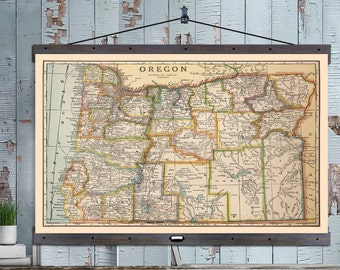 OREGON Map. Vintage Portland Map. Pull Down or Hanging Map. Vintage Map 1900 ,40x60,  School Map, Wall Chart, Hanging Map, Antique Map