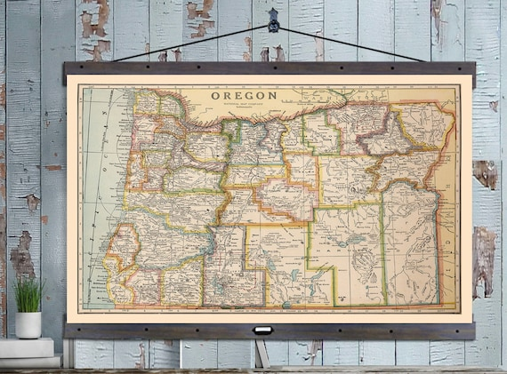 Oregon map vintage portland map pull down or hanging map like this item gumiabroncs Images