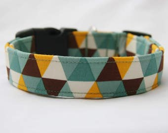 Cut Diamonds-Blue Yellow Brown-Adjustable Buckle-Martingale Dog Collar-Small-Large Breed Dog-1 inch 1.5 -2 inch width-Traffic-Dog Leash