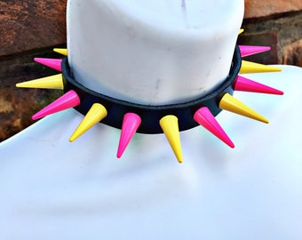 Pink/Yellow Spiked Collar