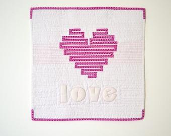 Pink Heart Quilt, Heart Wall Hanging, Heart Wall Art, Mini Quilt, Pink Heart