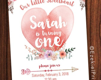 Floral ONE, Flowers and Hearts Party, Birthday Invitation, Girl Theme, Sweetheart ONE