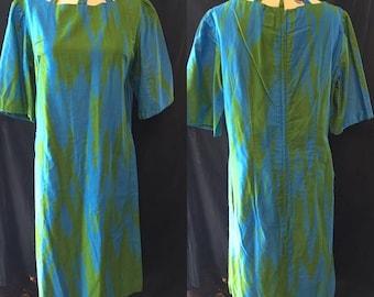 35% off Sale Muumuu  Retro Hawaiian Green blue dress women's small medium 1960