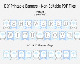 Showered With Love Banner - Light Blue, Pale Blue & Grey - Umbrella - Spring - Boy Baby Shower - PRINTABLE - INSTANT DOWNLOAD