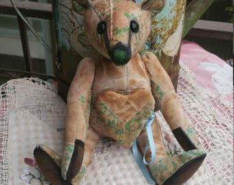 RESERVED***Sincerity - 10 inch cream & green patchwork bear with  needlepoint heart front