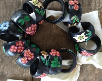 Vintage Wooden Handpainted Napkin Rings- Flowers are handpainted and handcarved -Set of 11