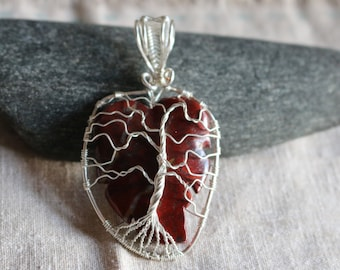 Red Brecciated Jasper Tree of Life Pendant with Silver plated wire.