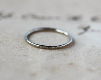 White Gold Stacking Ring, 14k Palladium White Gold, Thin Hammered Band, Skinny Stackable Ring, Elegant Jewelry, Recycled Metal