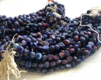 Vintage Glass nailhead beads end of the day Glass Antique blue red swirl 5 mm