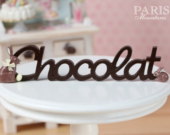 "MTO-A French ""Chocolat"" Sign for Easter - Miniature Decoration in 12th Scale."