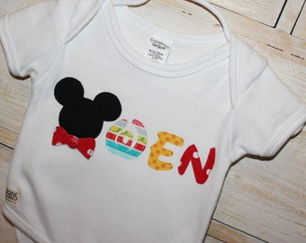 Mickey-inspired personalized onesie or tee