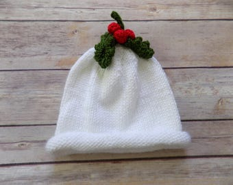 Knit Christmas Hat, White Knit Beanie, Baby Hat with Holly, 3-6 Months