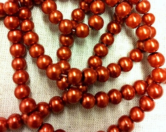 Set of 20 round glass beads - copper Pearl - 8 mm T42