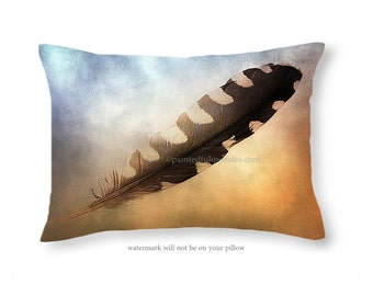Rectangle Travel Pillow Fine Art Photography Spirit Feather Surreal Mystical Serene Home Decor