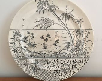 Vintage Melbourne Black Transfer Ware Plate With Tropical Waterfront Scene