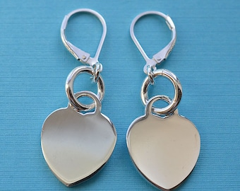 Sterling Silver Lever Back Heart Earrings 02
