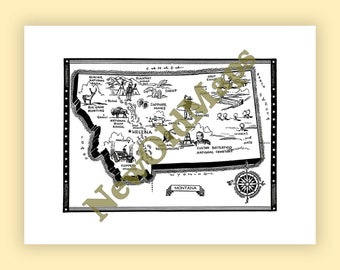 Rocky mountains map etsy montana vintage 1960s illustrated map digital download state wall art do it yourself color arrange modify solutioingenieria Images