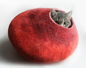 Minimalistic Cat Cocoon, Cave, Bed, House, Sleep Vessel, Nest, Hideaway, Furniture Hand Felt Wool / Crisp Modern Design / Orange Red Bubble